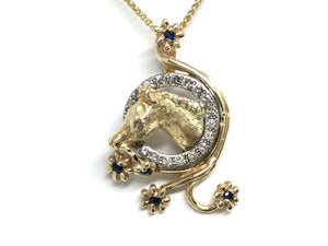 Horse & Flower Pendant - Two Tone