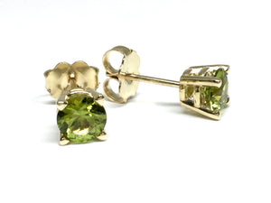 Peridot Stud Earrings 5mm - Yellow Gold