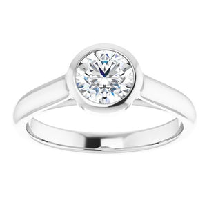 0.74ctw Diamond Bezel Ring GIA - White Gold