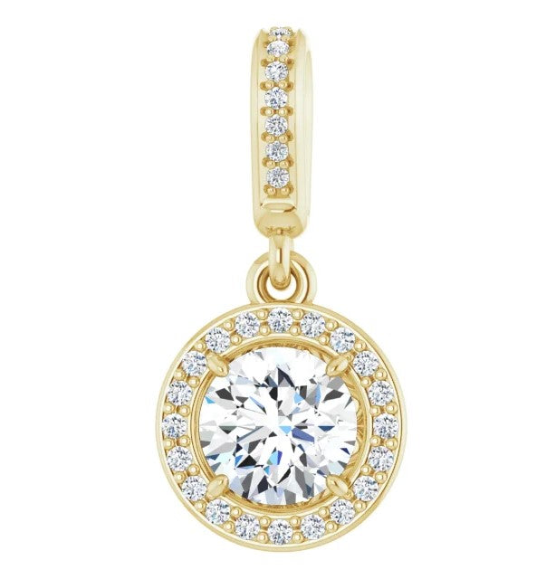 Diamond Halo Pendant 0.60ctw GIA - Yellow Gold