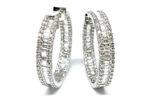 4.12ctw Diamond Hoop Earrings - White Gold