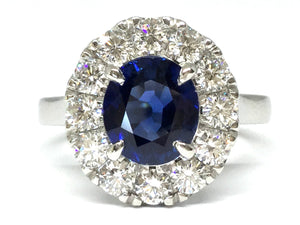 2.39ct Sapphire Ring w/ Diamond Halo - Platinum