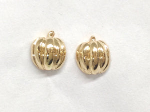 Pumpkin Small Stud Earrings - Yellow Gold