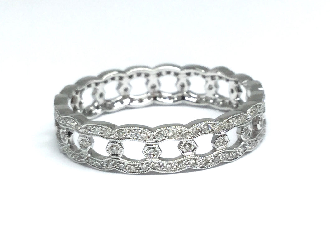 Link Design Diamond Eternity Band - White Gold