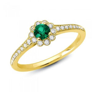 Emerald Ring w/ Scalloped Diamond Halo - Yellow Gold