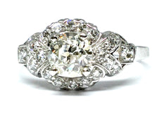 Load image into Gallery viewer, 1.12ctw Old Euro Diamond Deco Ring GIA - Platinum