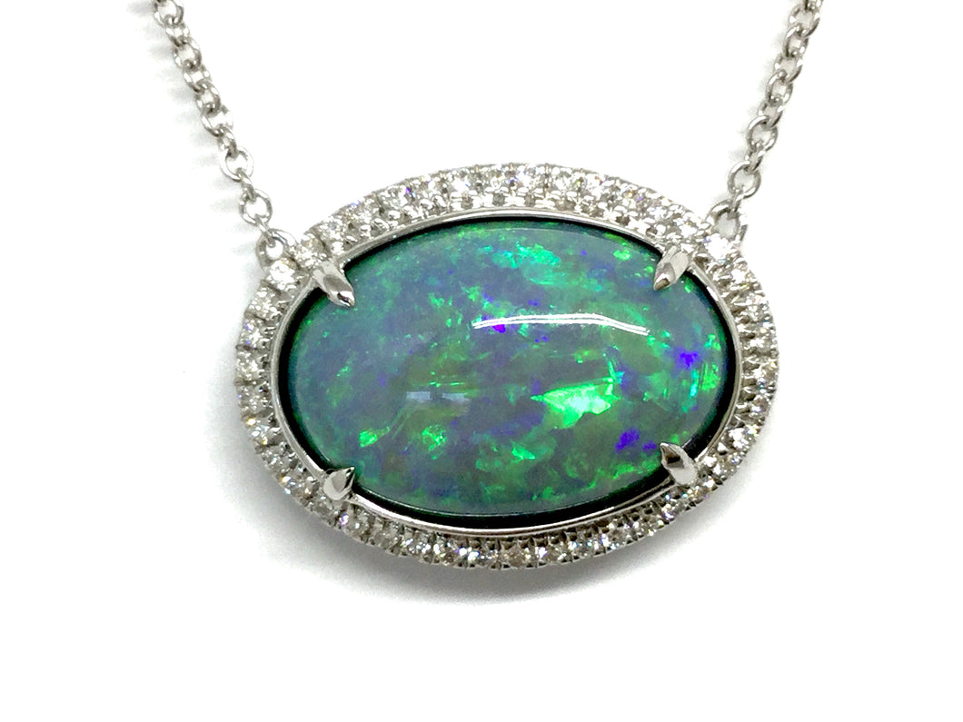 6.00ct Opal Necklace w/ Diamond Halo - White Gold