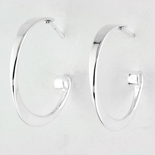 Simple Hoop Earrings - Silver