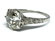 Load image into Gallery viewer, 3.04ctw Old Euro Diamond Deco Ring GIA - Platinum