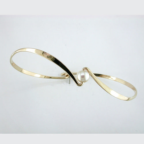 Pearl Reverse Curve Bracelet - Yellow Gold