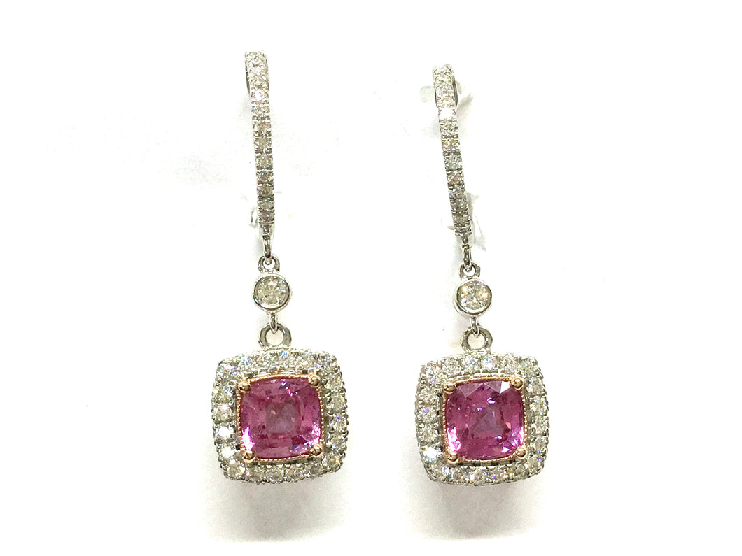Pink Sapphire Dangle Earrings w/ Diamond Halo - Two Tone