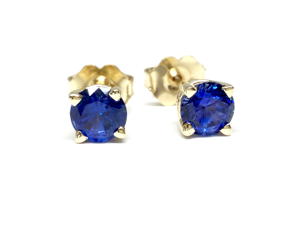 Sapphire Stud Earrings 5mm - Yellow Gold