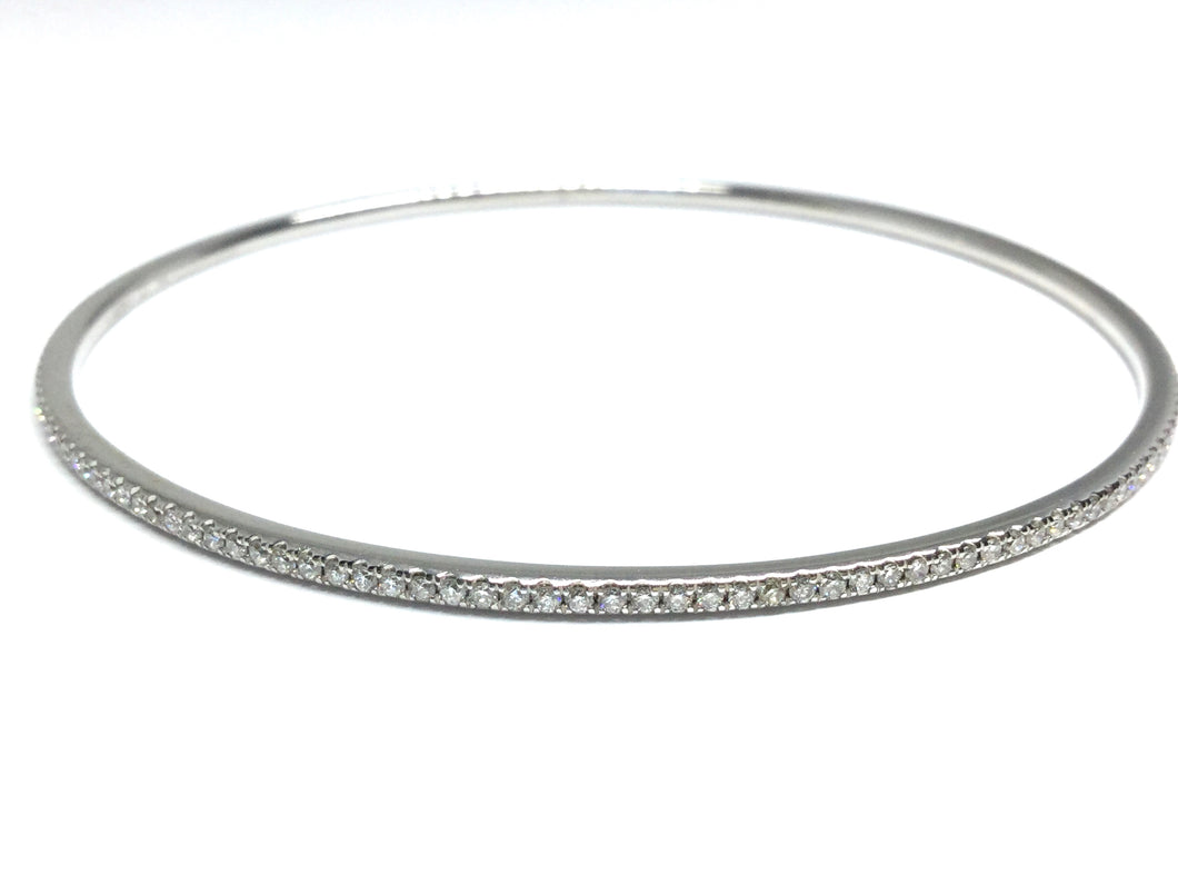 Diamond Bangle Bracelet 1.03ctw - White Gold