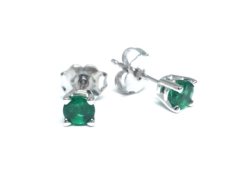 Emerald Stud Earrings 4mm - White Gold