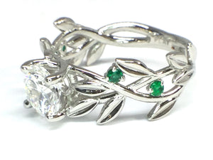 Diamond Leaf Ring w/ Emerald Accents - White Gold