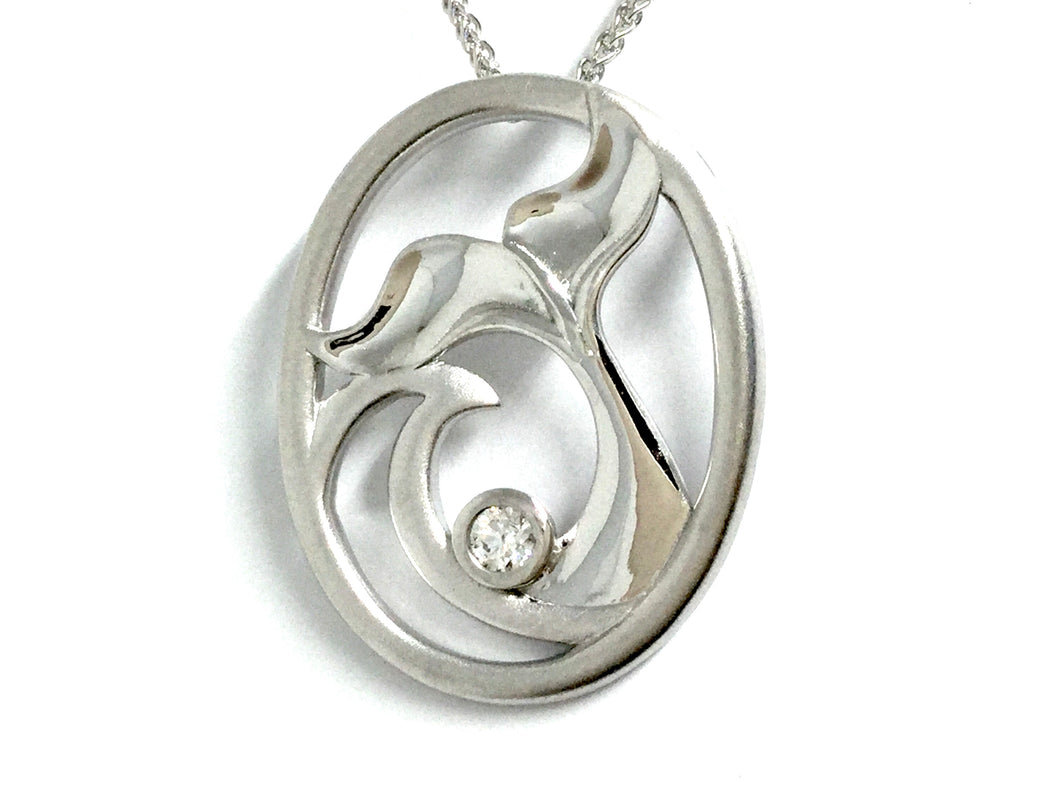 Whale Tail & Wave Pendant w/ Diamond - White Gold