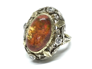 Opal & Diamond Victorian Era Ring - Two Tone