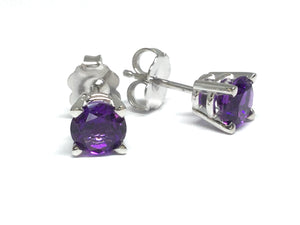 Amethyst Stud Earrings 5mm - White Gold