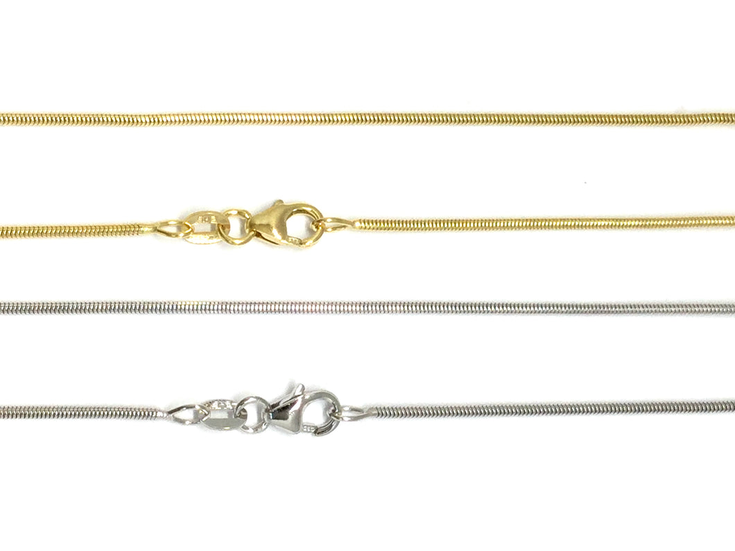 Snake Chain 1.2mm - White, Yellow Gold