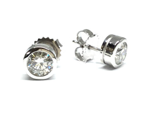 Diamond Bezel Stud Earrings 1.06ctw - White Gold