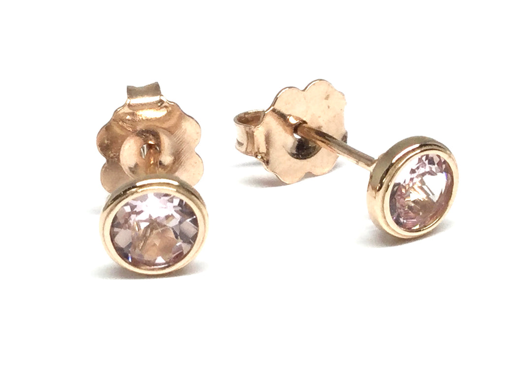 Morganite Bezel Stud Earrings 4mm - Rose Gold