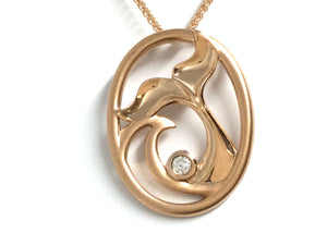 Whale Tail & Wave Pendant w/ Diamond - Rose Gold
