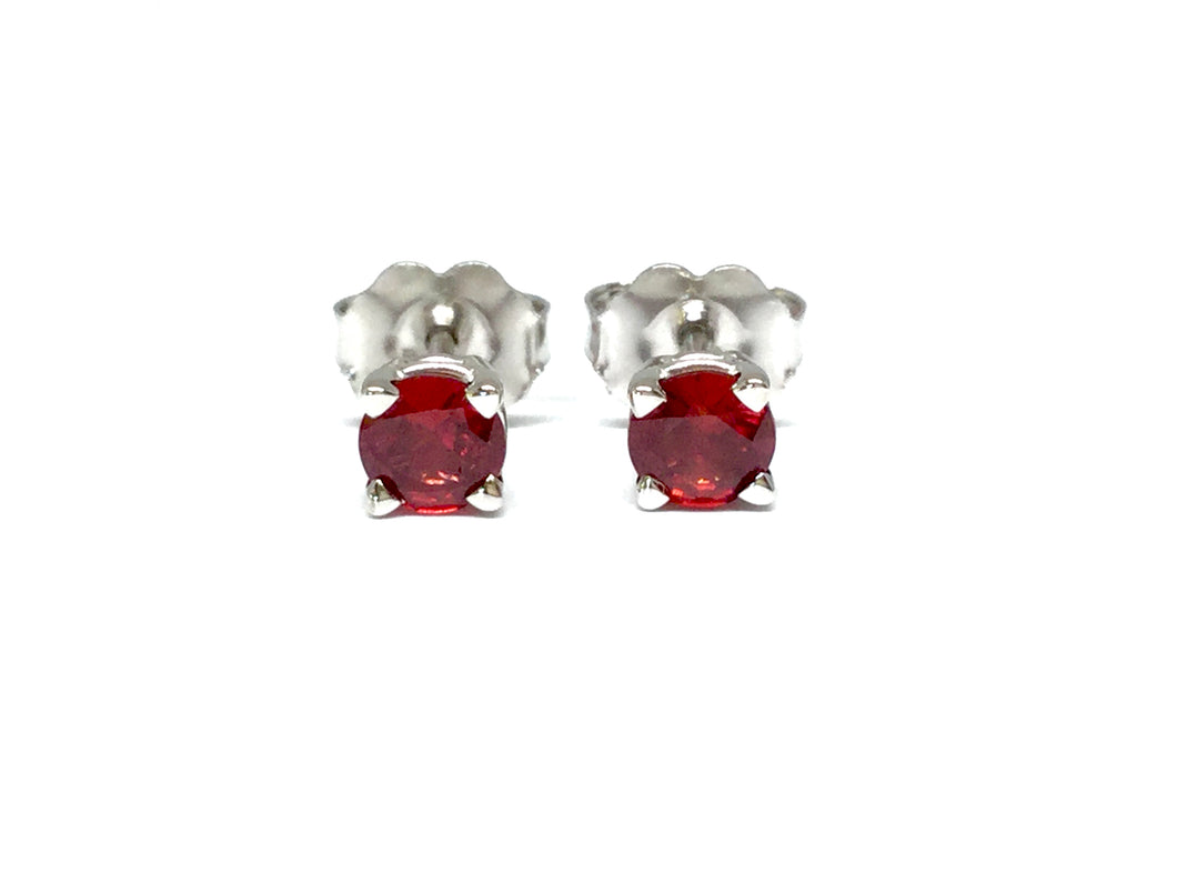 Ruby Stud Earrings 4mm - White Gold