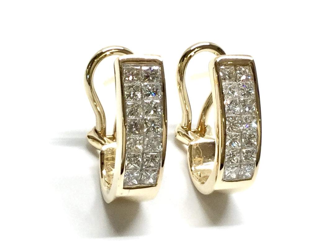 Invisible Diamond Bar Earrings 0.84ctw - Yellow Gold