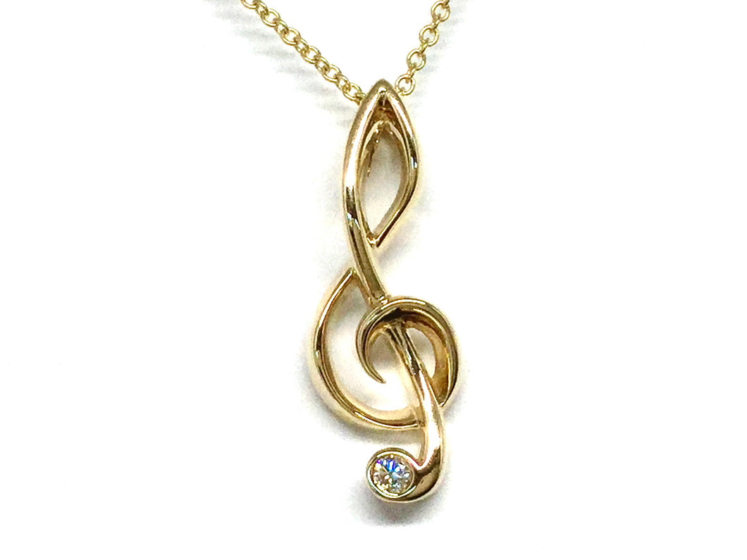 Charity Clef Pendant w/ Diamond - Yellow Gold