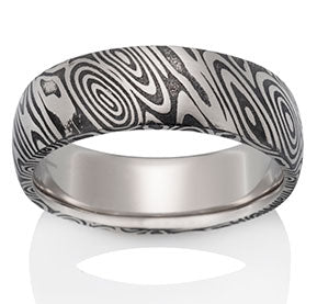 Wood Grain Pattern Damascus Steel Band