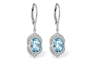 Aqua Bezel Earrings w/ Diamond Halo - White Gold