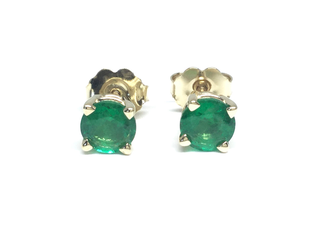 Emerald Stud Earrings 5mm - Yellow Gold