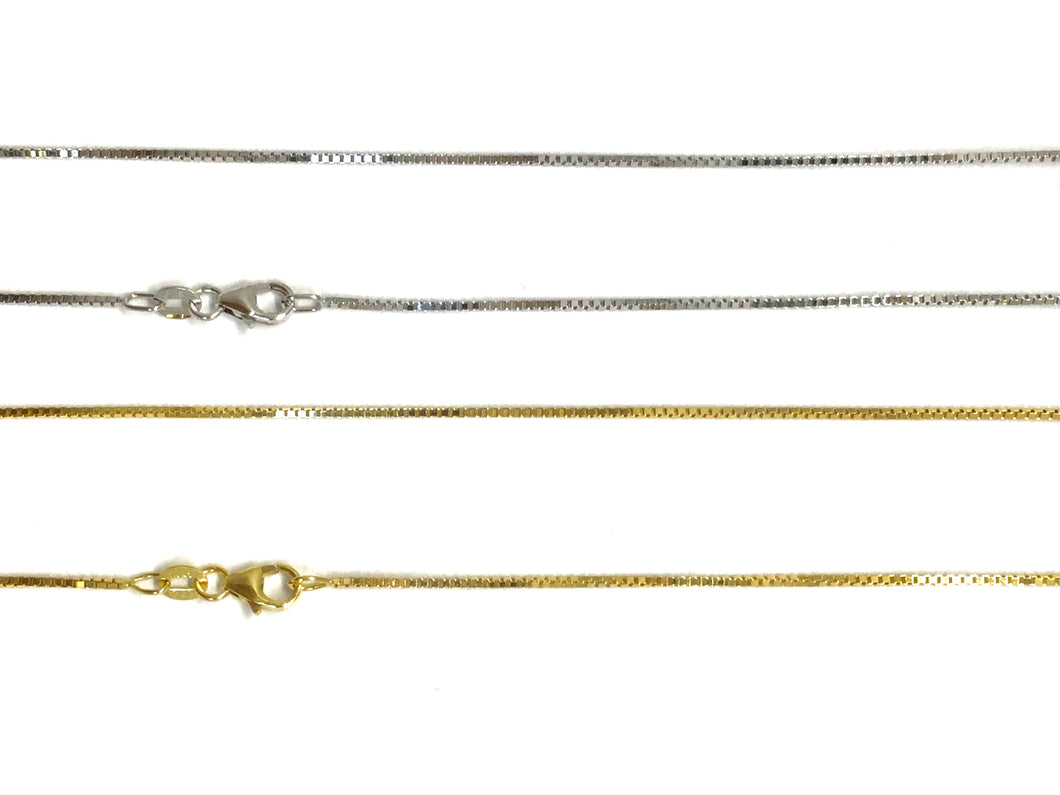 Box Chain 0.9mm - White, Yellow Gold