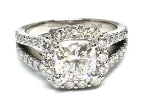 3.30ctw Cushion Diamond Halo Ring GIA - Platinum
