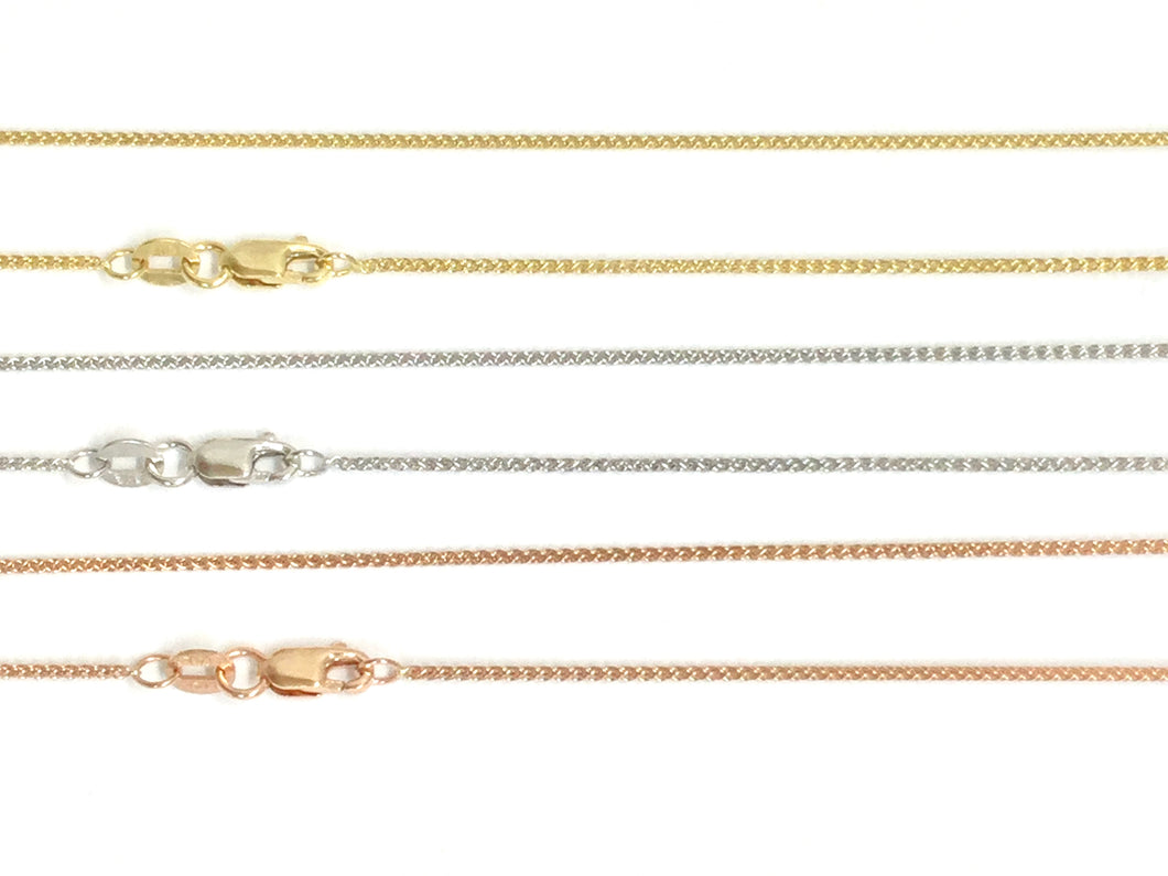 Wheat Link Chain 1.1mm - White, Yellow, Rose Gold