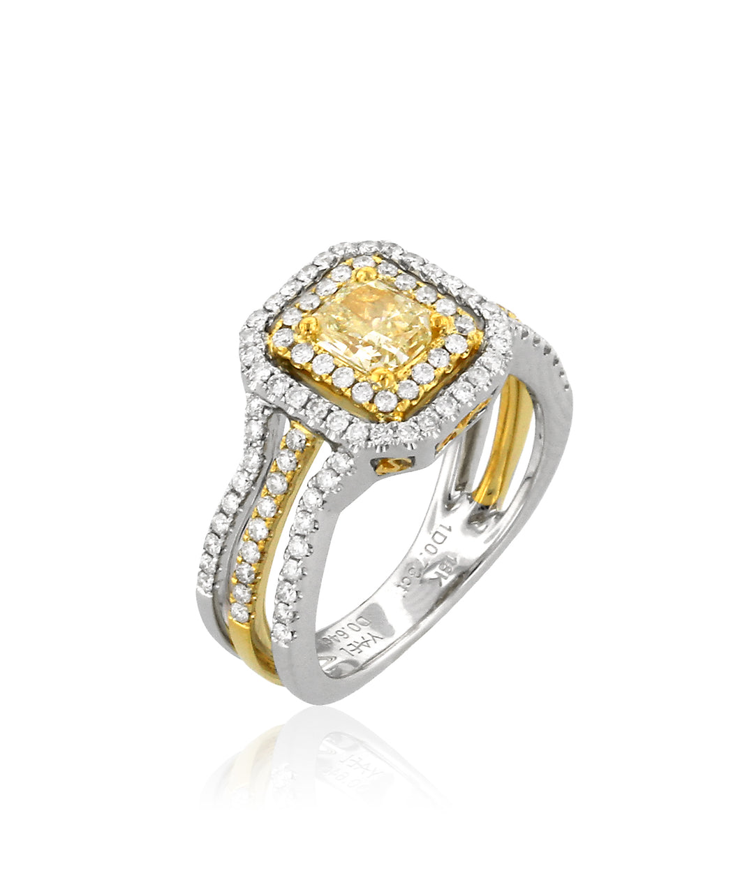 1.44ctw Yellow & White Diamond Double Halo Ring - Two Tone