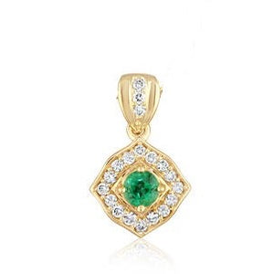 Emerald Pendant w/ Diamond Halo - Yellow Gold