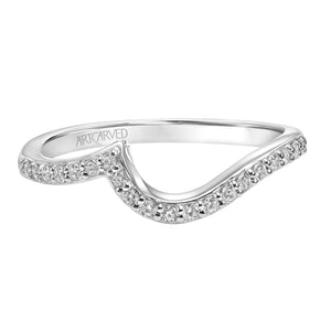 Wave Design Form Fit Diamond Band - White Gold