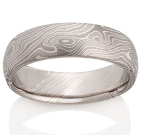 Birch Pattern Mokume Ring - Pd950, Pd500, Silver