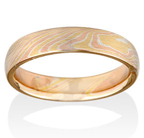 Birch Pattern Mokume Ring - Yellow, Rose, Silver