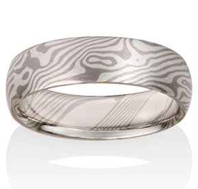 Maple Pattern Mokume Ring - Pd500, Silver