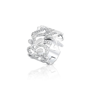 Free Form Design Diamond Band - White Gold