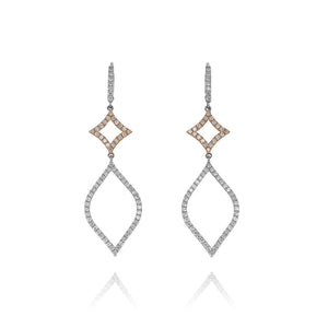 Long Diamond Dangle Earrings - Two Tone