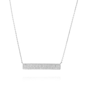 Bar Diamond Necklace - White Gold