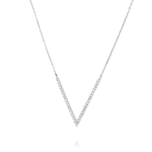 V-Shape Diamond Necklace - White Gold