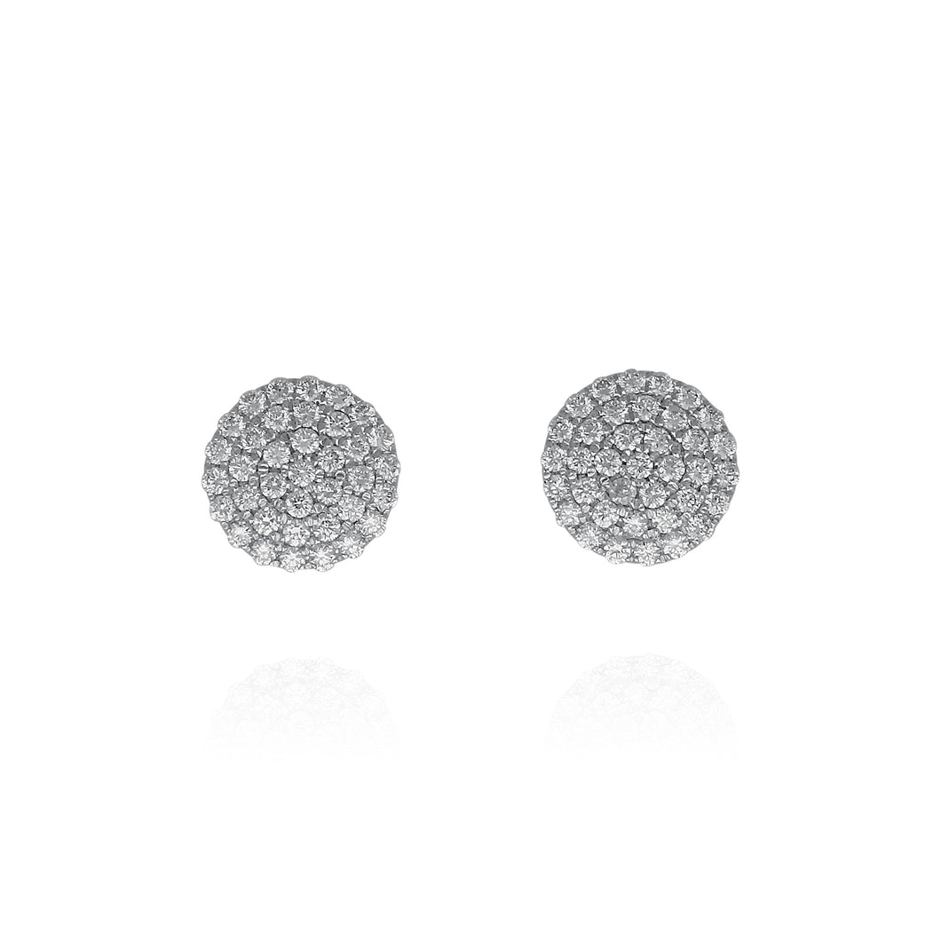 Disc Diamond Cluster Earrings - White Gold