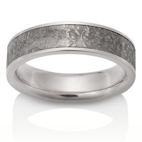 Sirius Meteorite Band w/ White Gold Boarders
