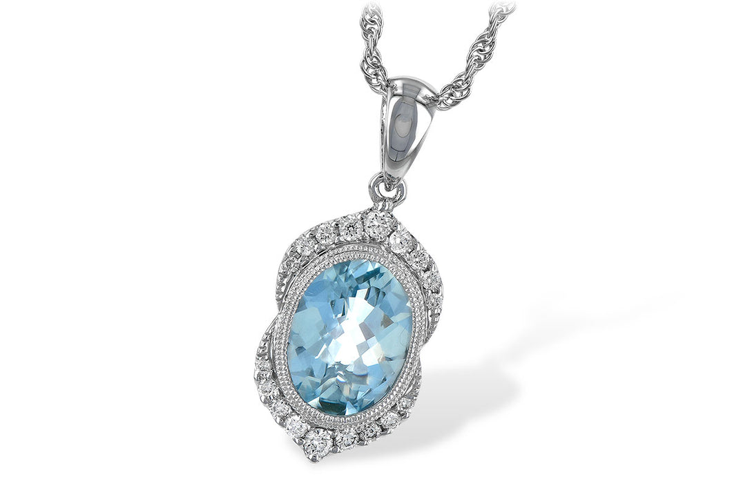 Aqua Bezel Pendant w/ Diamond Halo - White Gold