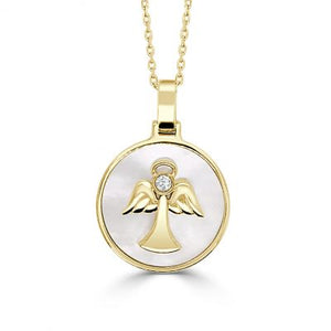 Angel Pendant w/ Diamond and Mother of Pearl - Yellow Gold
