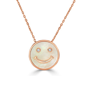 Happy Face Necklace w/ Diamonds and Mother of Pearl - Rose Gold